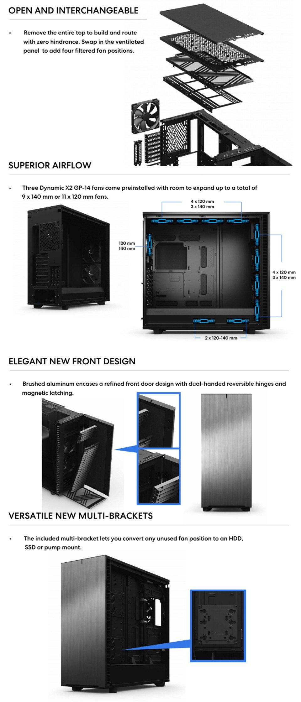 Fractal Design Define 7 XL Tempered Glass Black features 2
