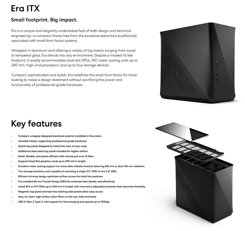 Fractal Design Era ITX Case Carbon features