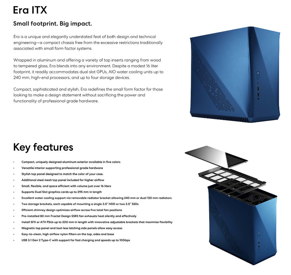 Fractal Design Era ITX Case Cobalt features
