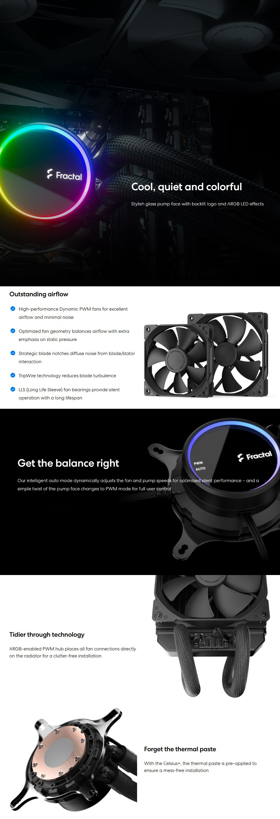 Fractal Design Celsius+ S24 Dynamic 240mm Liquid CPU Cooler features