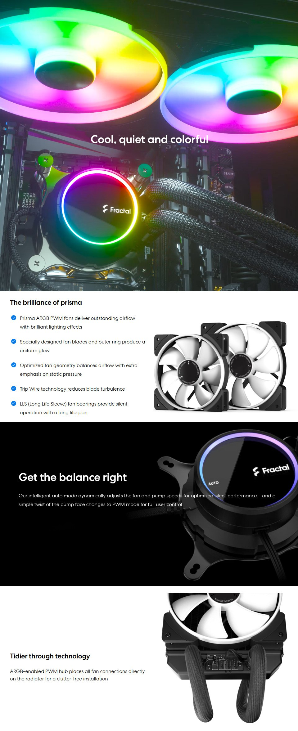 Fractal Design Celsius+ S36 Prisma 360mm Liquid CPU Cooler features