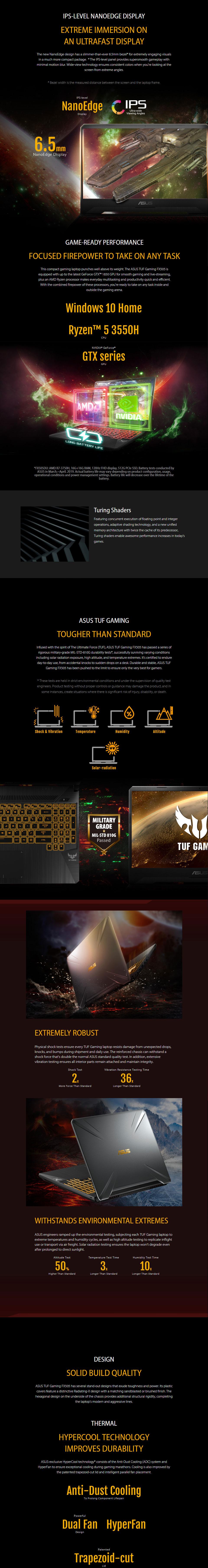 ASUS TUF AMD Ryzen 5 GeForce GTX 1050 15 6in Notebook