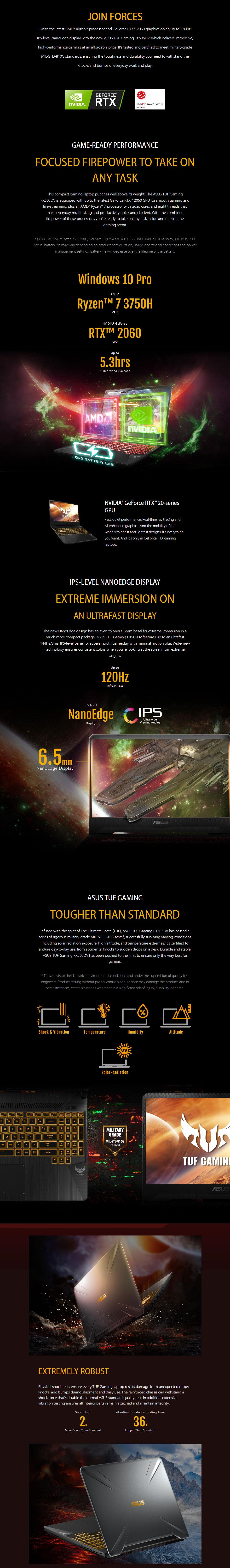 ASUS TUF AMD Ryzen 7 GeForce RTX 2060 15 6in 120Hz Notebook