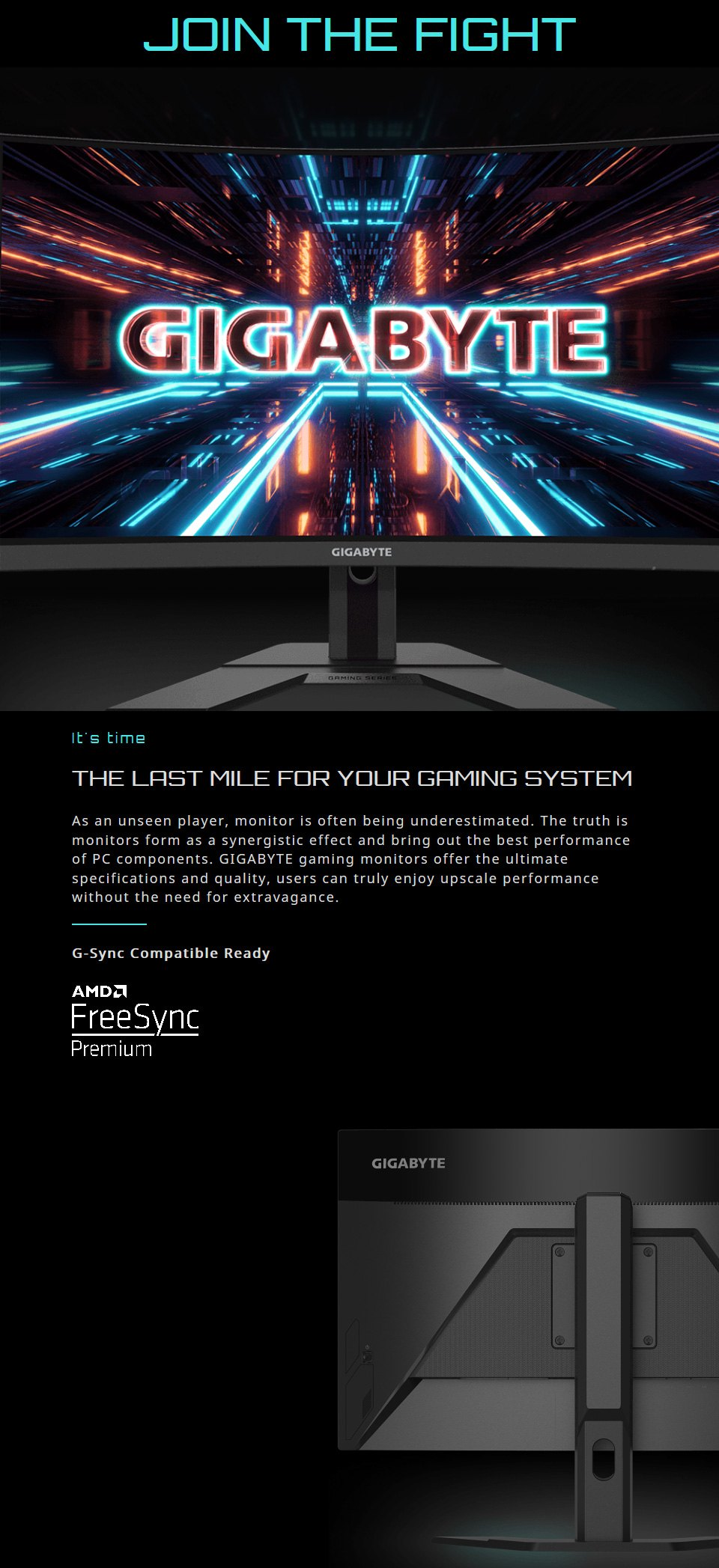 Gigabyte G27FC FHD 165Hz FreeSync Curved 27in Monitor features