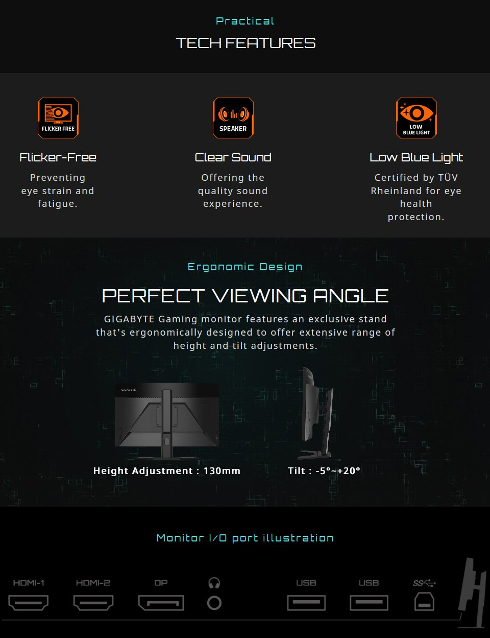 Gigabyte G27FC FHD 165Hz FreeSync Curved 27in Monitor features 6