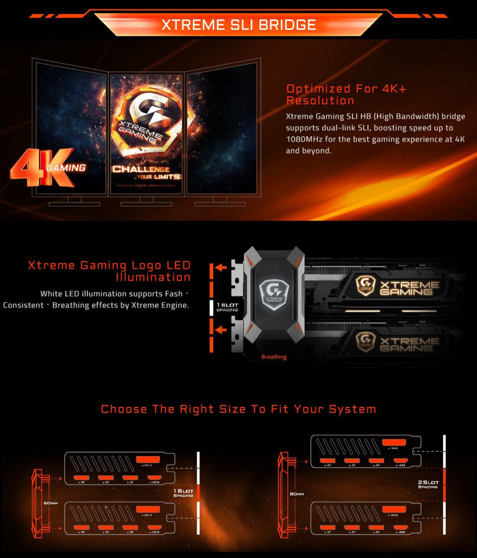 Gigabyte Xtreme Gaming SLI HB Bridge (2 Slot Spacing) [GC-X2WAYSLIL