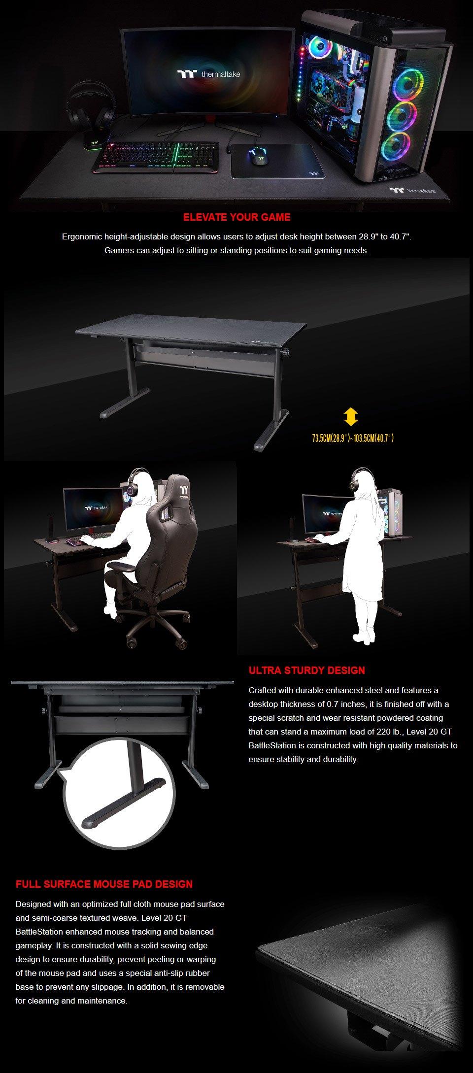 Thermaltake Level 20 GT BattleStation Gaming Desk features