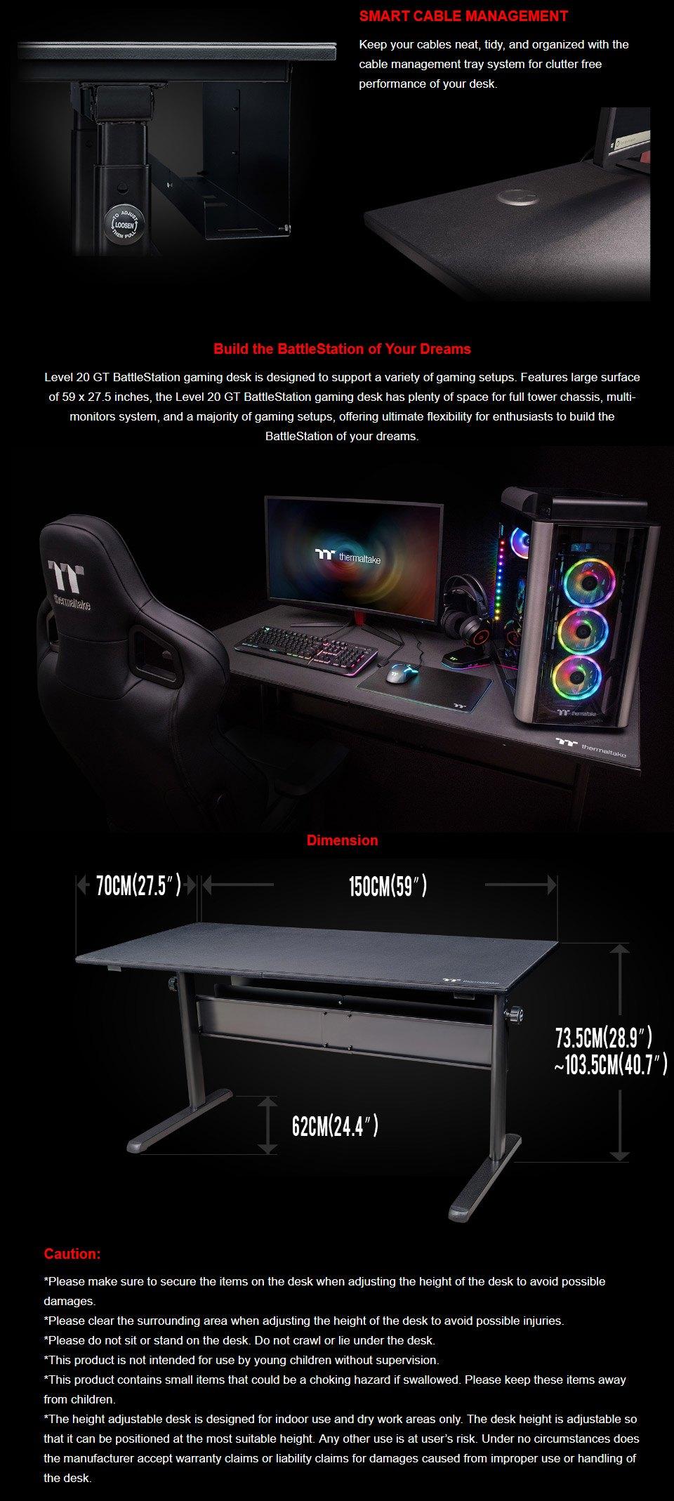 Thermaltake Level 20 GT BattleStation Gaming Desk features 2
