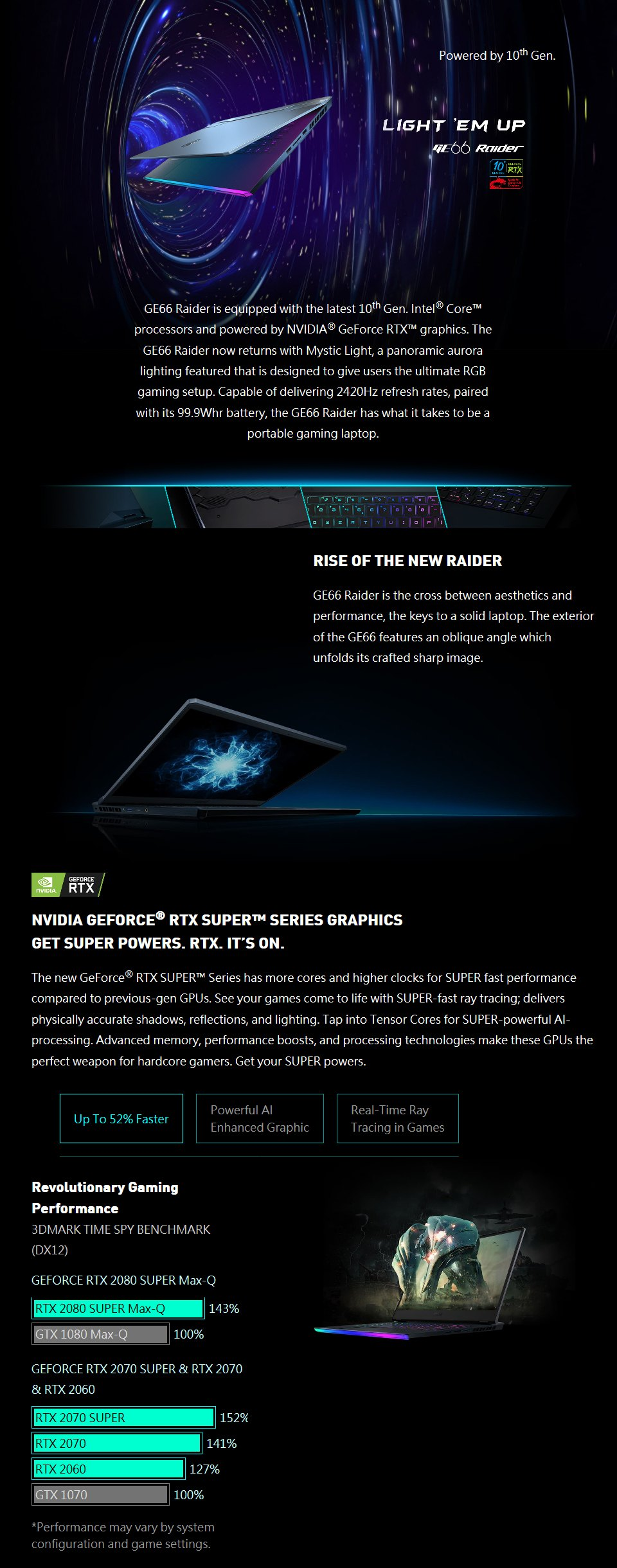 MSI GE66 10th Gen Core i7 RTX 2070 15.6in 240Hz Gaming Notebook features