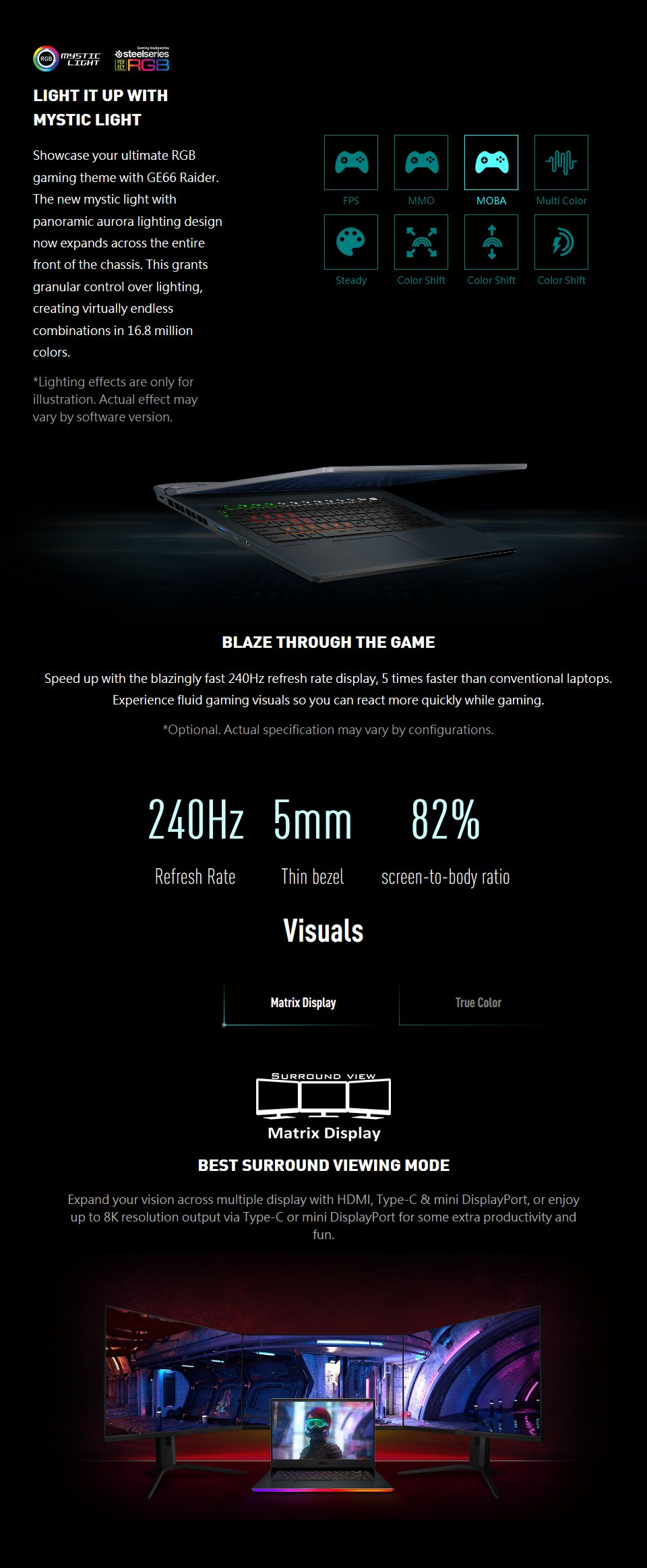 MSI GE66 10th Gen Core i7 RTX 2070 15.6in 240Hz Gaming Notebook features 2