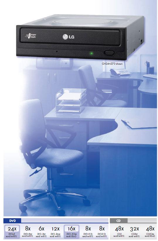 LG GH24NS70 24x SATA DVD-RW Drive OEM [GH24NS70] : PC Case Gear