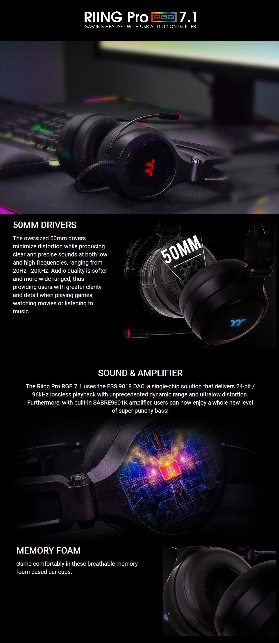 Thermaltake RIING Pro RGB 7.1 Surround Gaming Headset features
