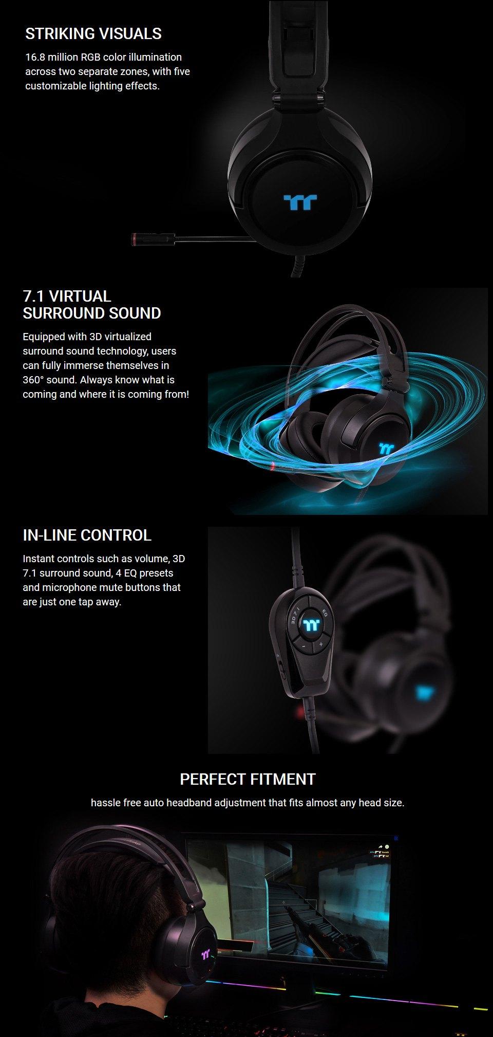Thermaltake RIING Pro RGB 7.1 Surround Gaming Headset features 2