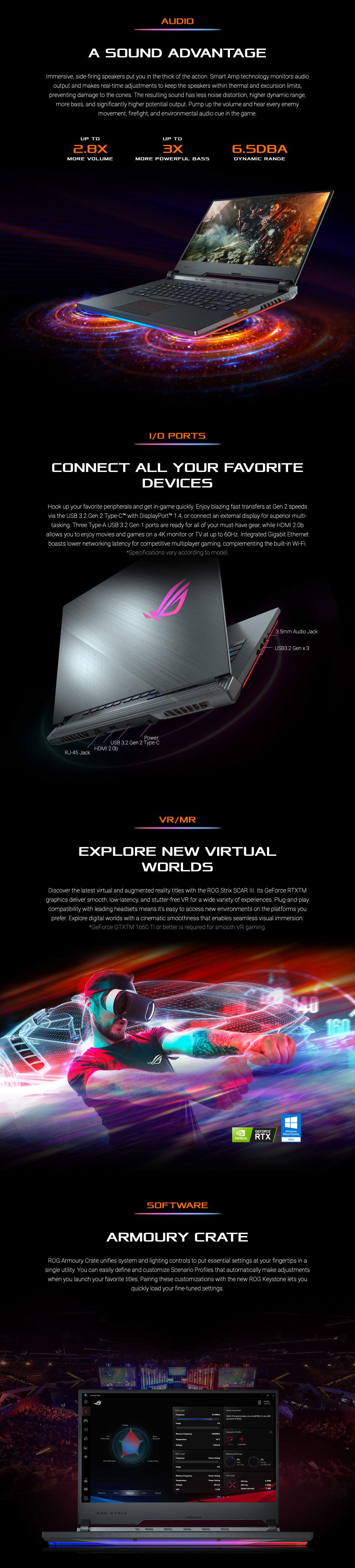 ASUS Strix Scar III Core i7 GeForce GTX 1660 Ti 15 6in Notebook