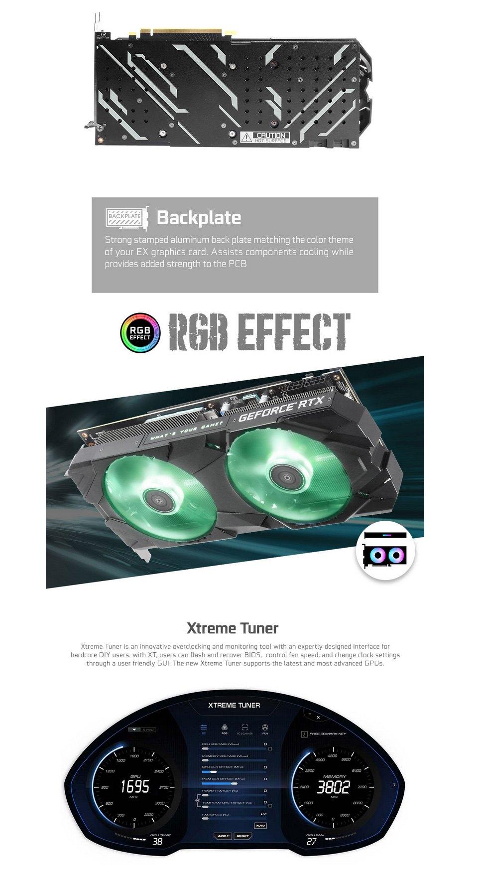 Galax GeForce RTX 2060 Super EX (1-Click OC) V2 8GB features 2