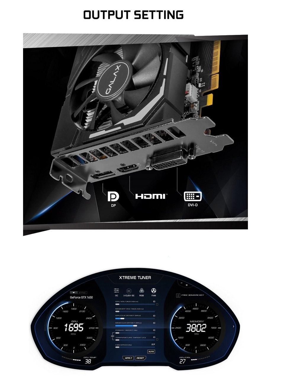Galax GeForce GTX 1650 Super EX 1-Click OC 4GB features 2
