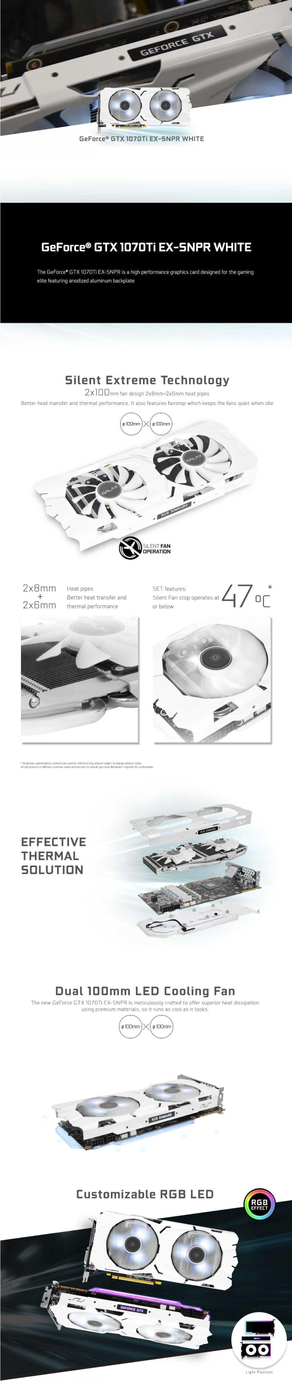 Galax GeForce GTX 1070 Ti EX Sniper White 8GB [GTX1070TI-EX-SNPR