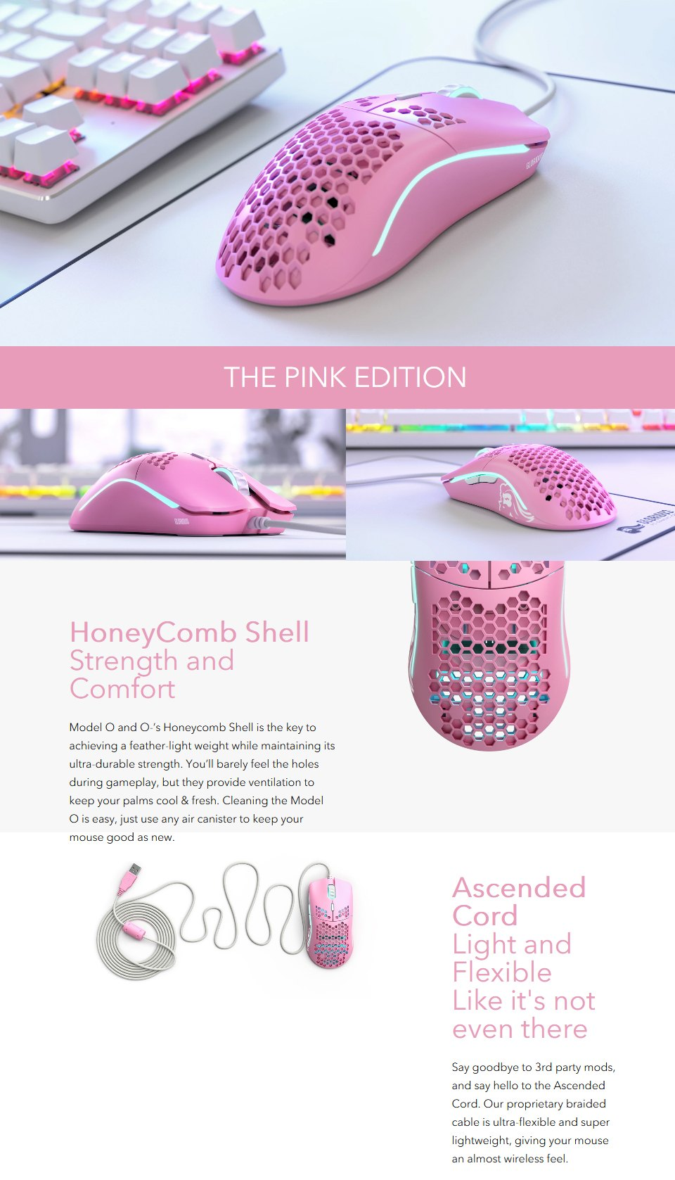 Glorious Model O Gaming Mouse Pink Limited Edition features