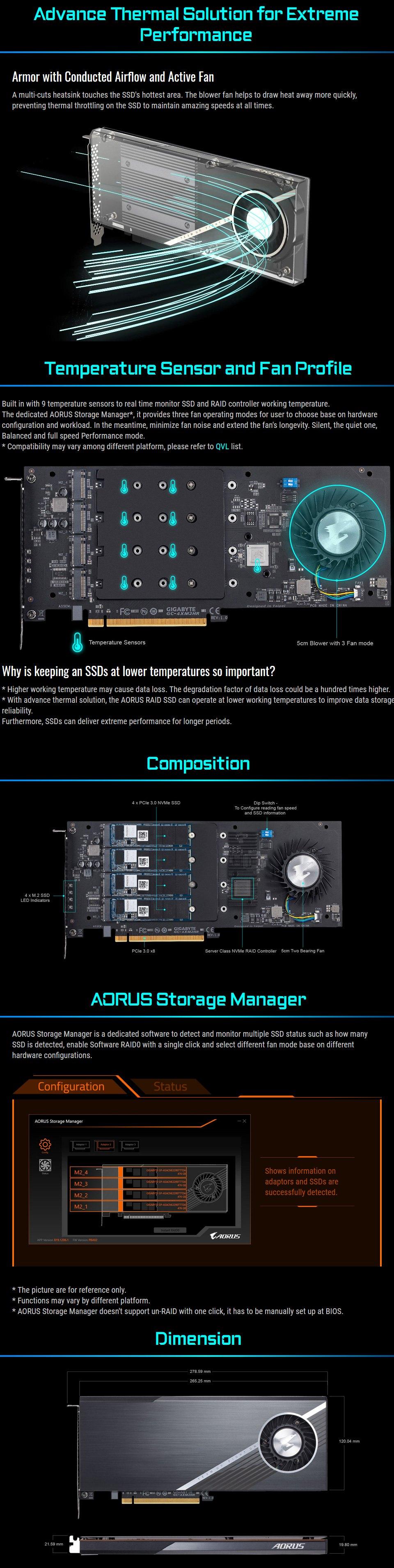 Gigabyte AORUS PCIe Raid SSD 2TB (4x512GB NVMe) features 2