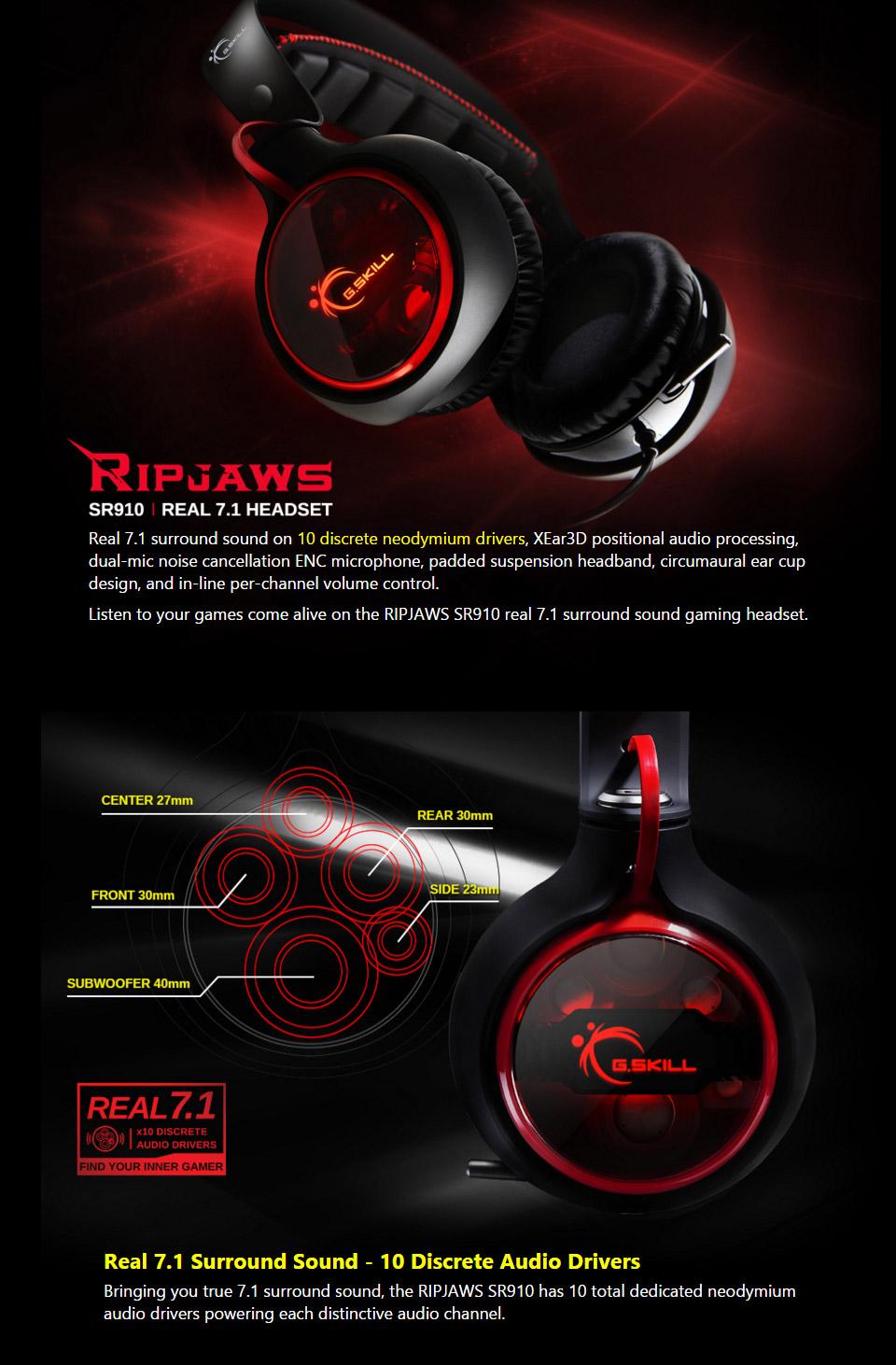 G Skill Ripjaws SR910 Real 7 1 USB Headset [GS-GH-D71NRE