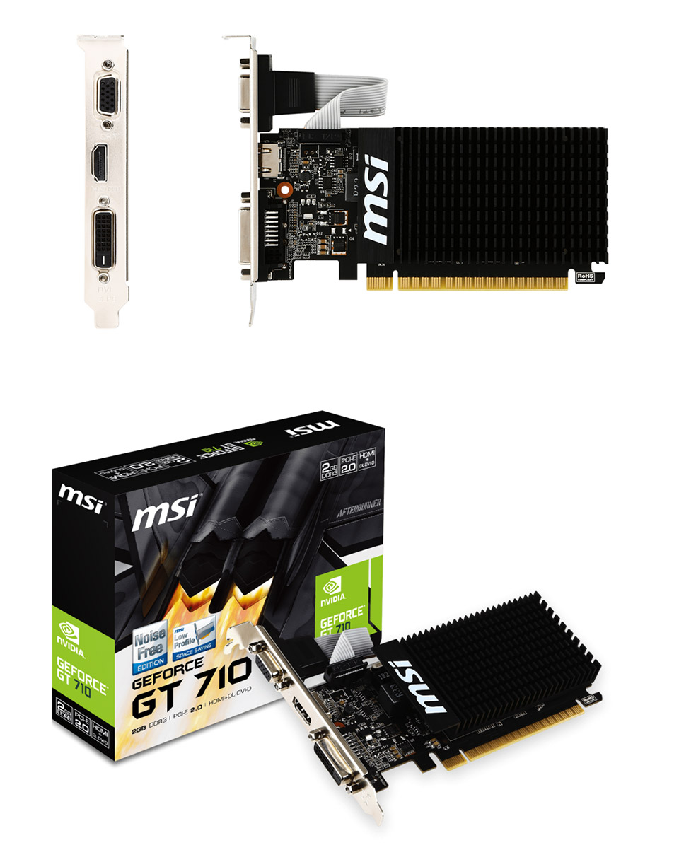 MSI Video Card GT 710 2GD3H LP GT710 2GB DDR3 OC 64Bit DL-DVID//HDMI//D-sub LowProfile Electronic Consumer Electronics