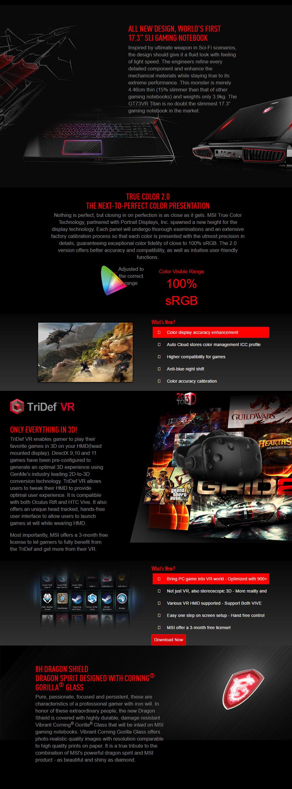 MSI GT73VR Titan 17 3in Core i7 Gaming Notebook [7RE-662AU