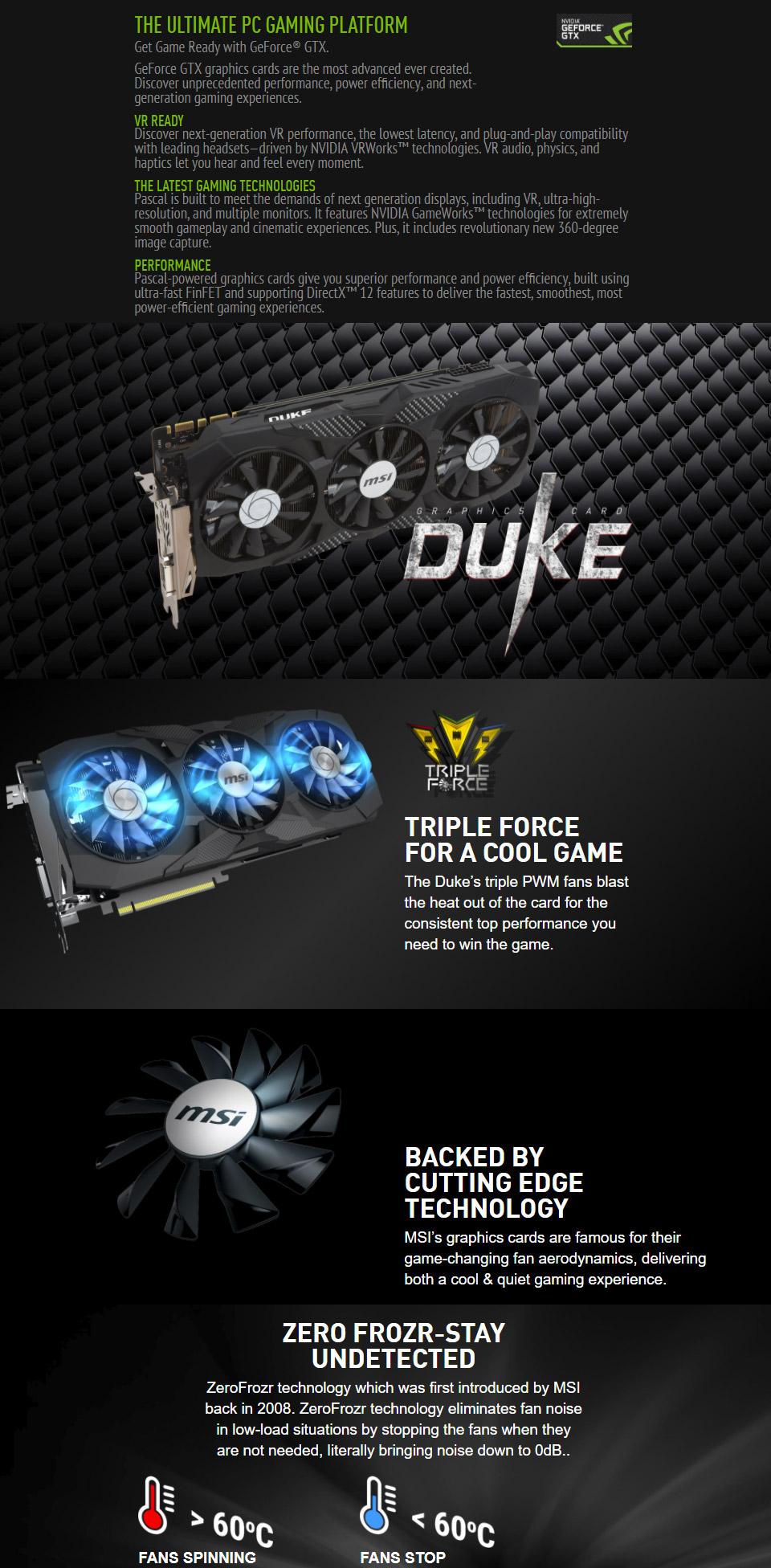 MSI GeForce GTX 1070 Ti Duke 8GB [MSI-GTX1070-TI-DUKE-8G] : PC Case Gear