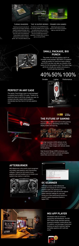 MSI GeForce GTX 1660 Super Aero ITX OC 6GB features