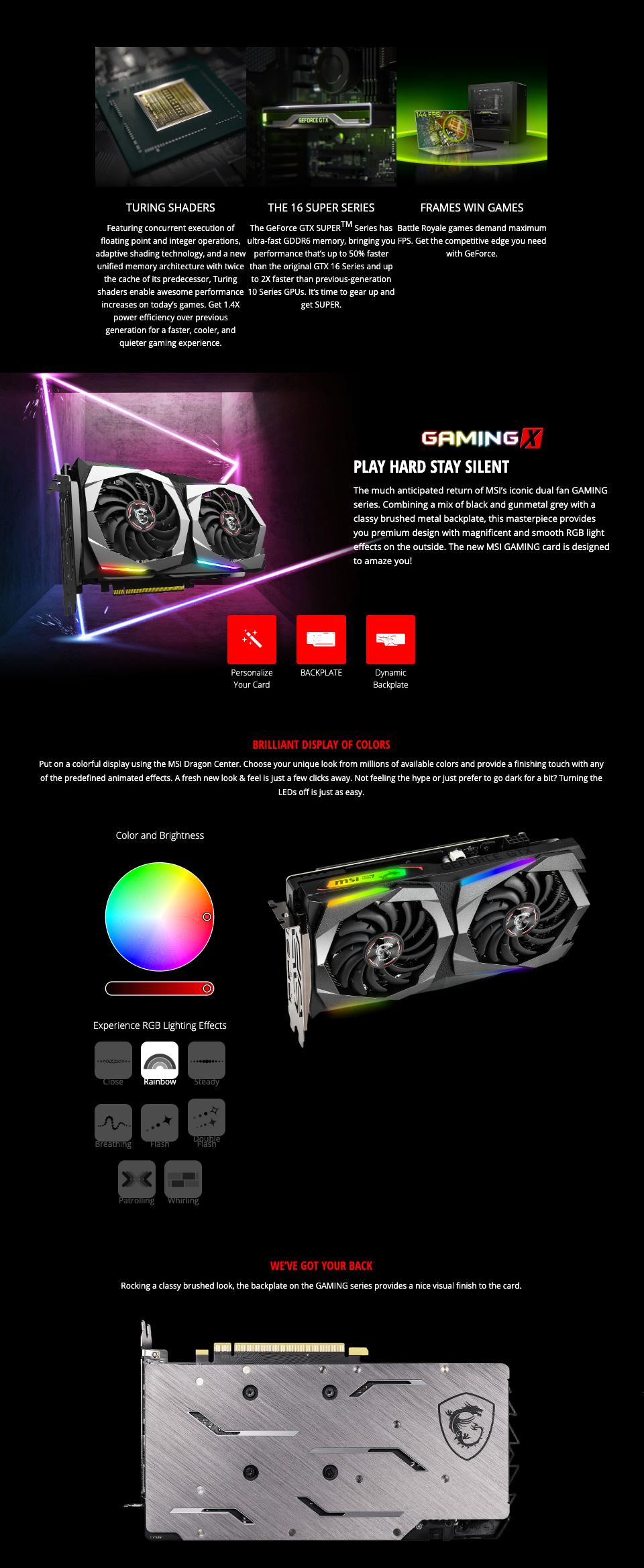 MSI GeForce GTX 1660 Super Gaming X 6GB features