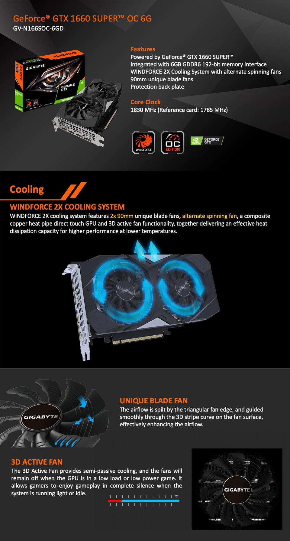 Gigabyte GeForce GTX 1660 Super OC 6GB features