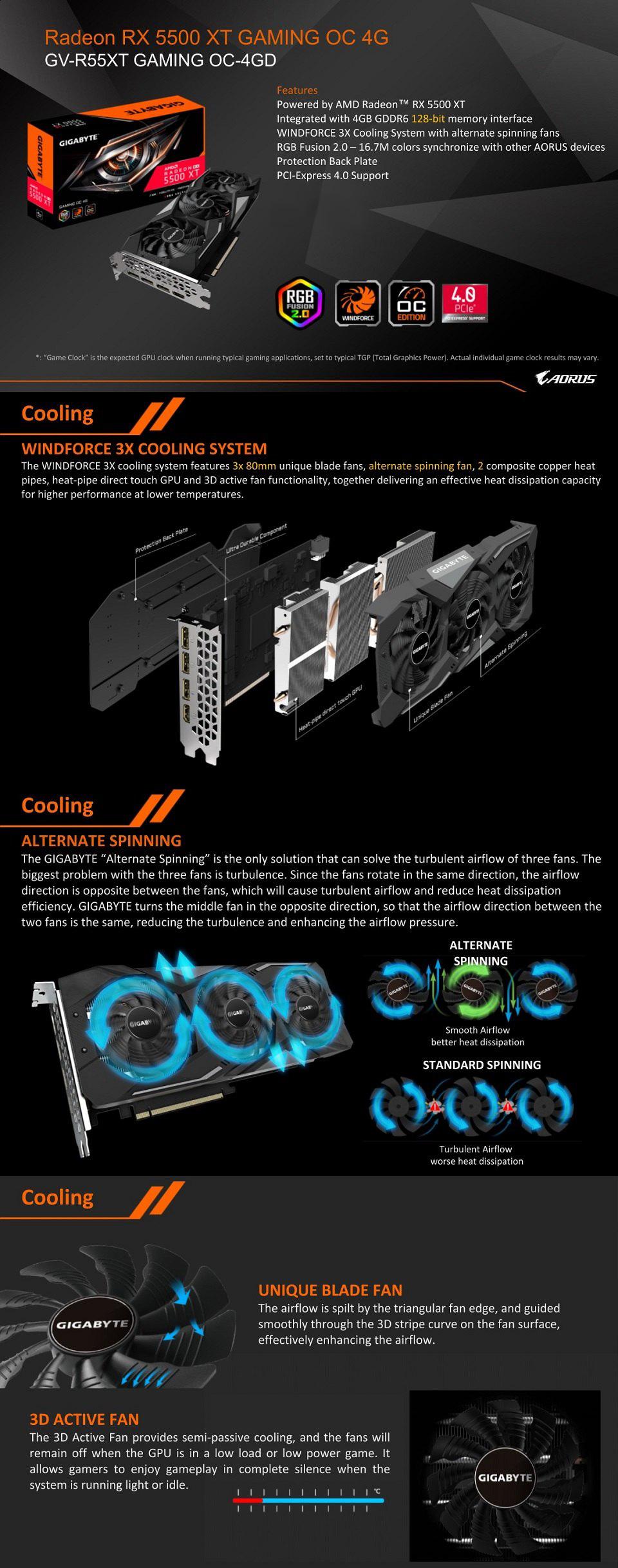 Gigabyte Radeon RX 5500 XT Gaming OC 4GB features