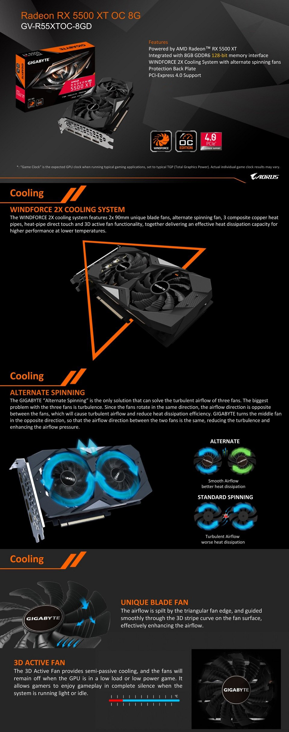 Gigabyte Radeon RX 5500 XT OC 8GB features
