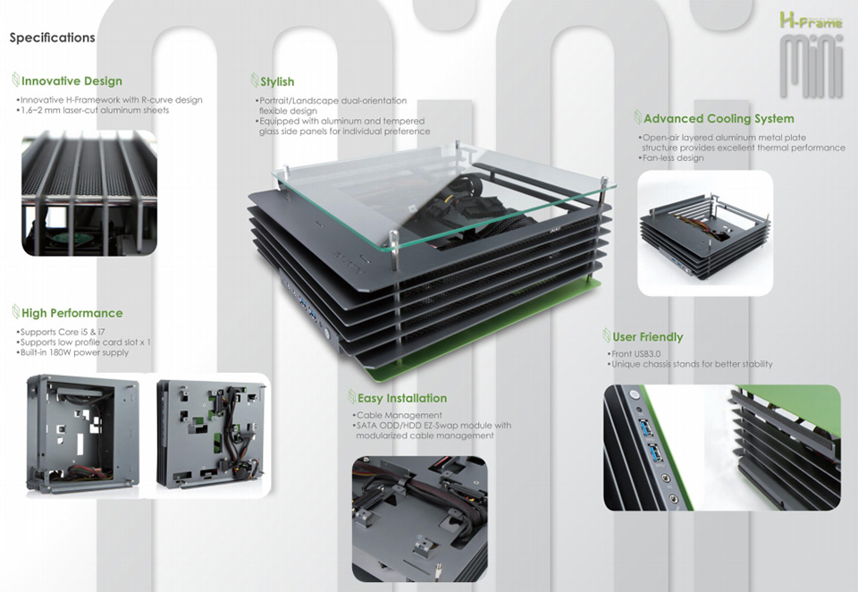 In Win H-Frame Mini-ITX Aluminum Case Silver Blue [H-FRAME-MINI ...