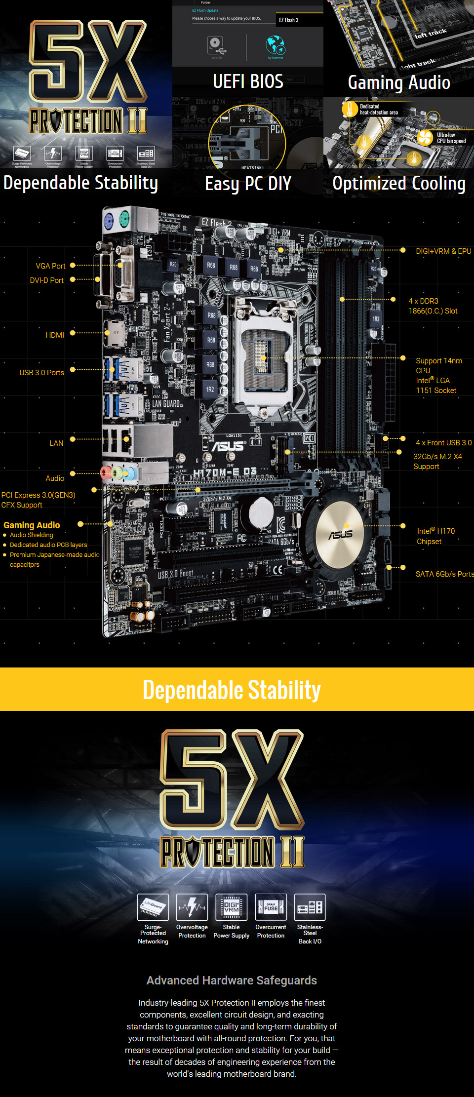 ASUS H170M E D3 Motherboard [H170M-E-D3] : PC Case Gear