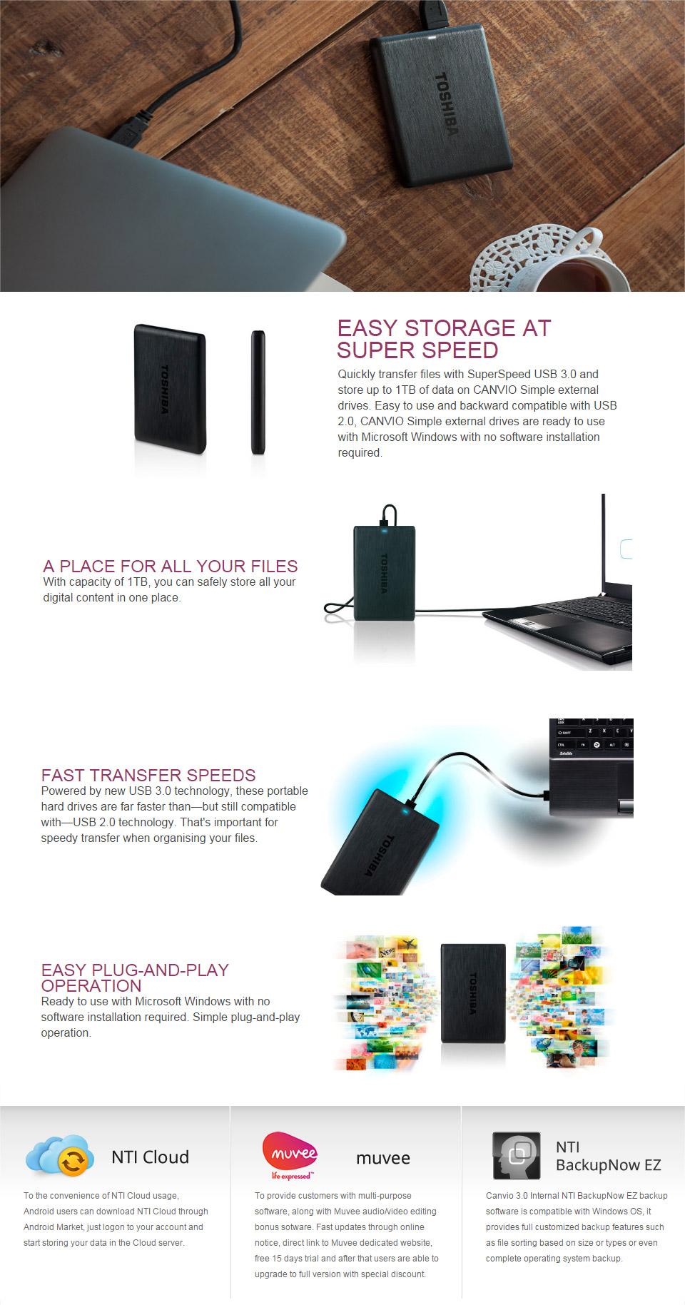 Toshiba Canvio Simple Usb 30 External Hdd 1tb Hdtp110ak3aa Pc Thosiba Basic Hardisk Exsternal The Hard Drive Easy To Use And Backward Compatible With 20 Drives Are Ready