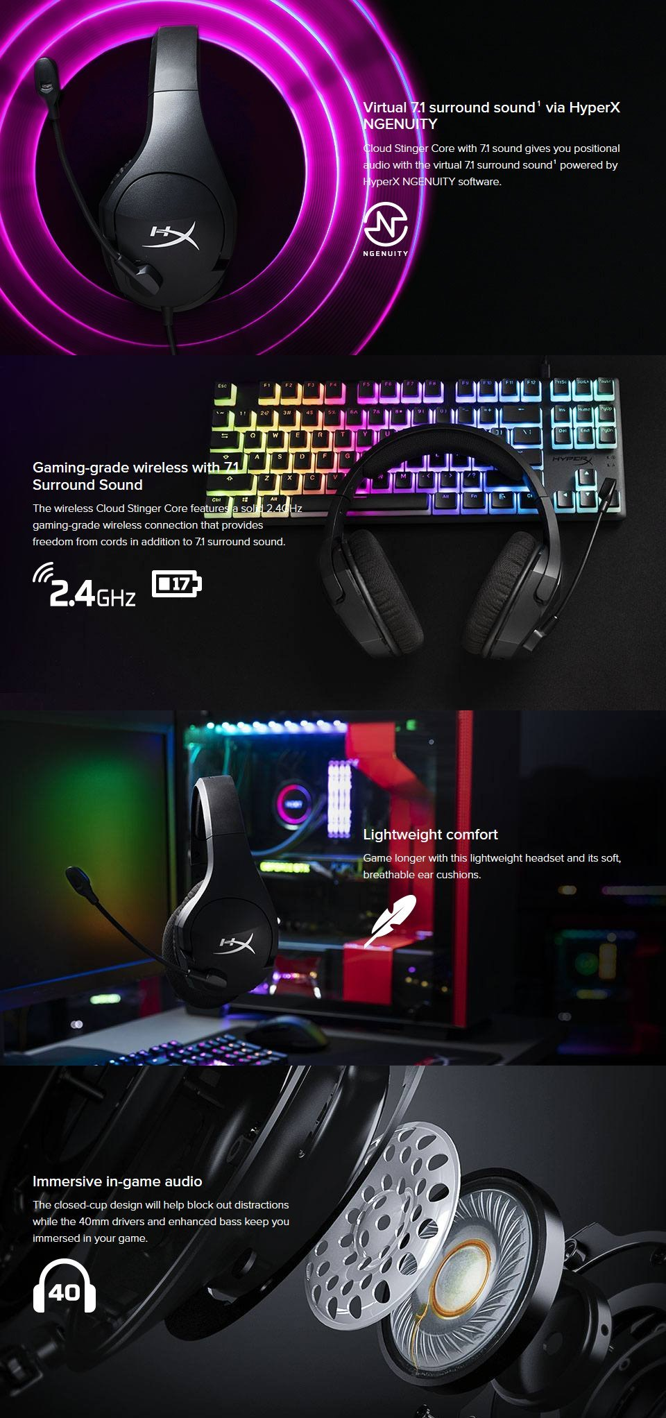 HyperX Cloud Stinger Core Wireless 7.1 Gaming Headset features
