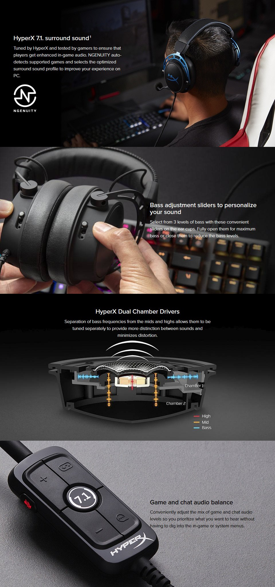 HyperX Alpha S Gaming Headset Black features