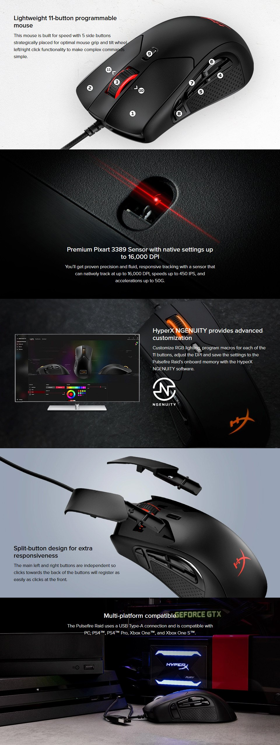 HyperX Pulsefire Raid RGB Gaming Mouse features