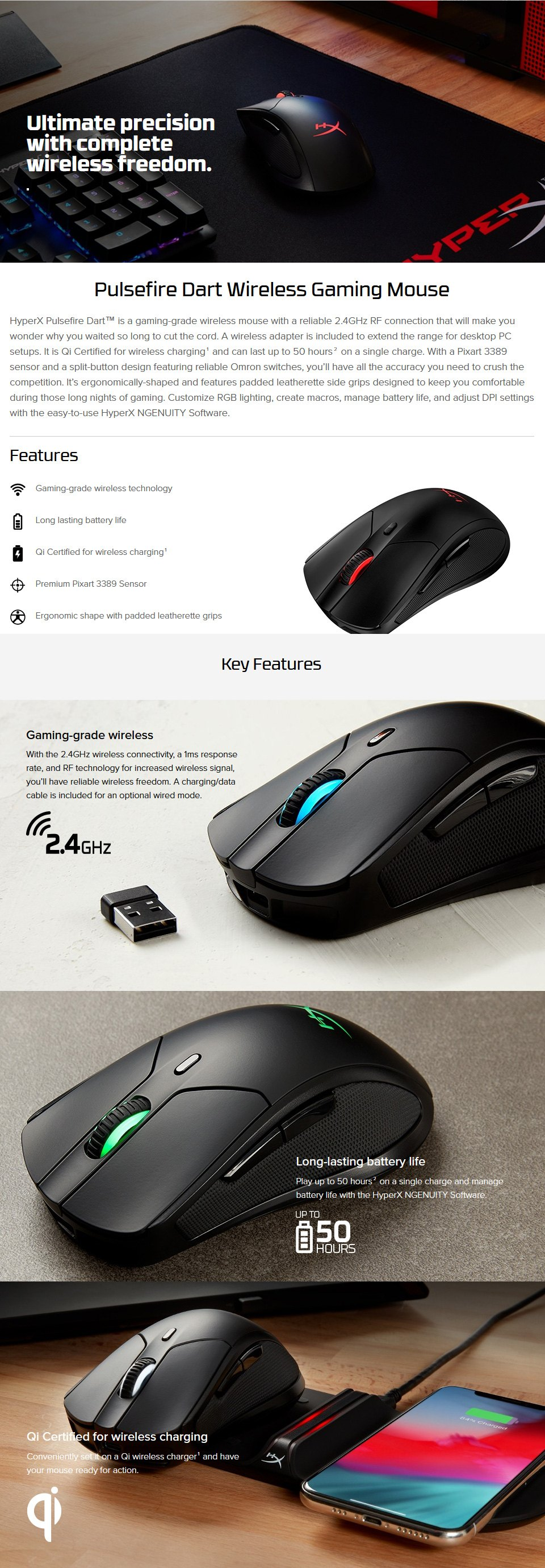 HyperX Pulsefire Dart RGB Wireless Mouse features