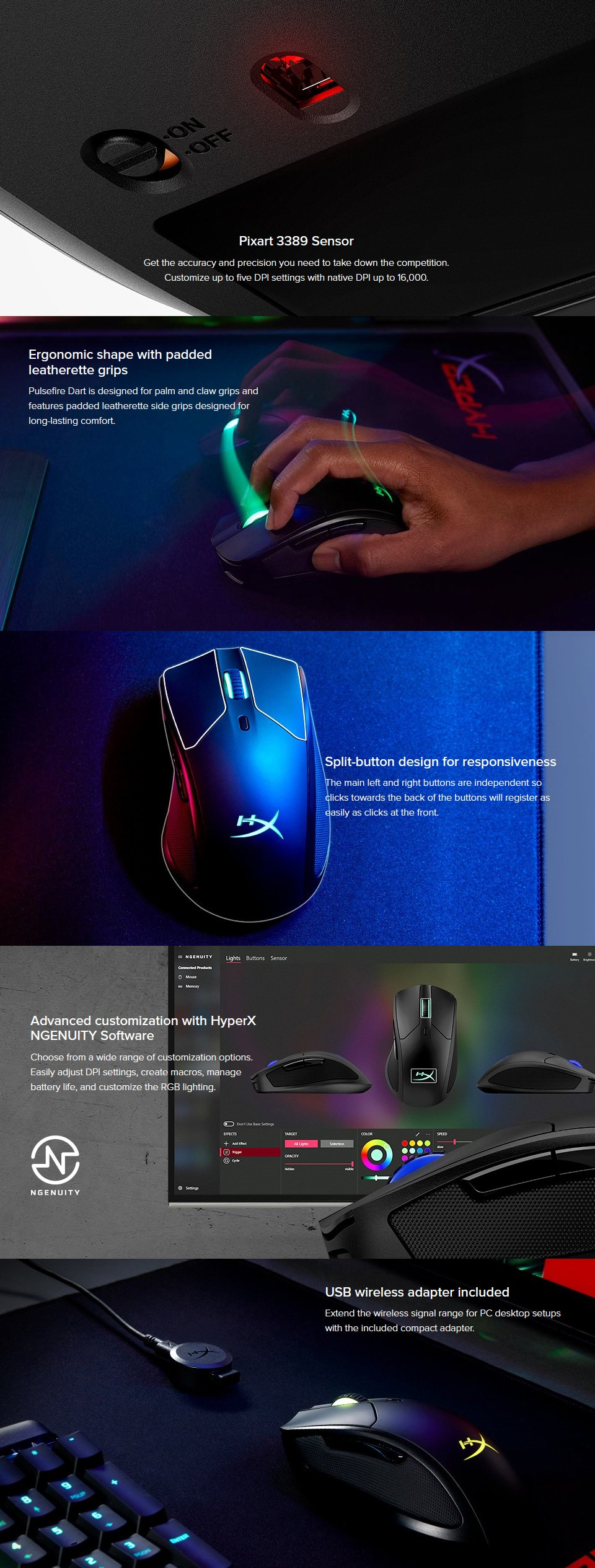 HyperX Pulsefire Dart RGB Wireless Mouse features 2