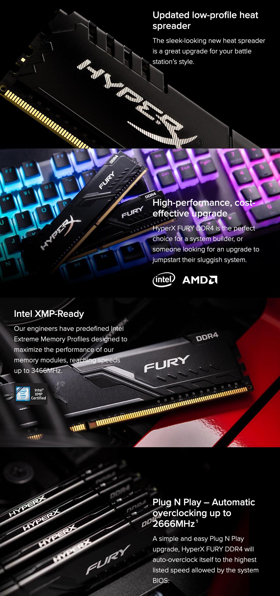 Kingston HyperX Fury HX424C15FB3K2/16 16GB (2x8GB) DDR4 Black features