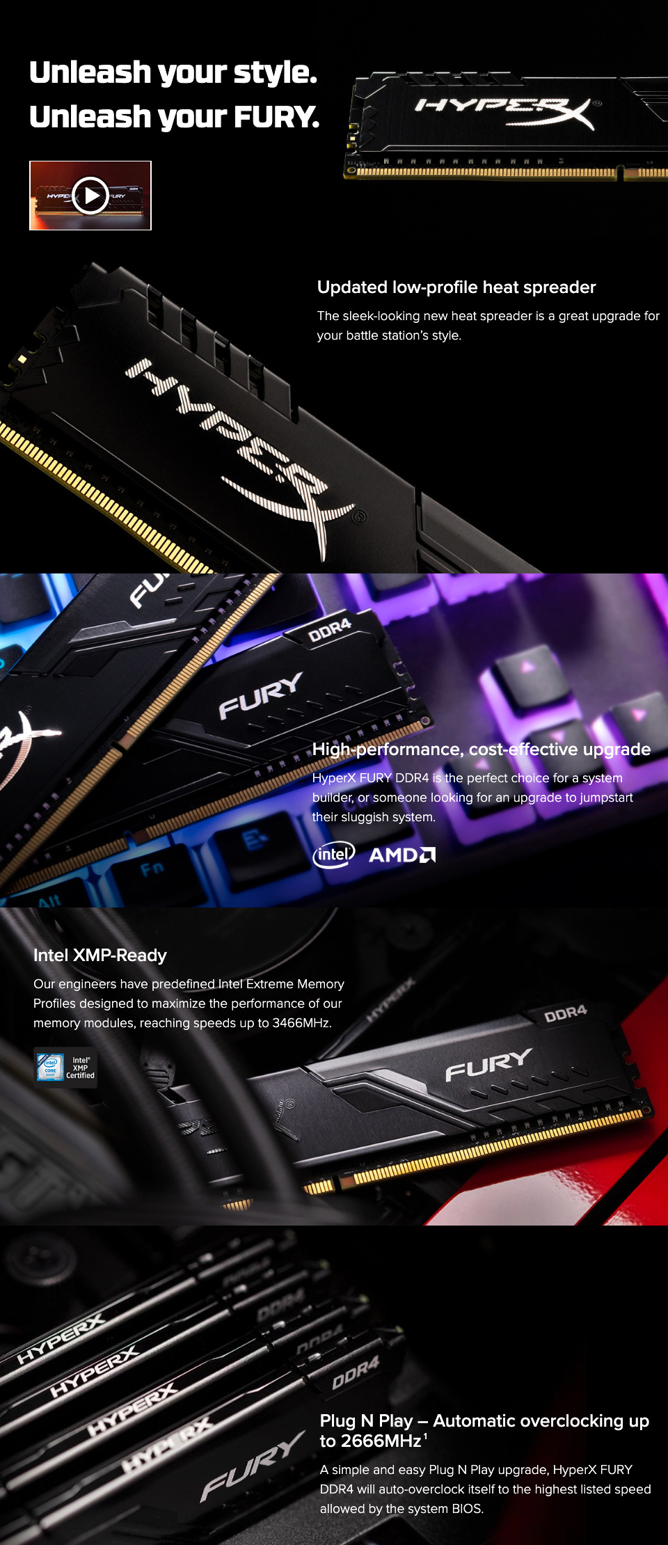 Kingston HyperX Fury HX424C15FB3K2/8 8GB (2x4GB) DDR4 Black features