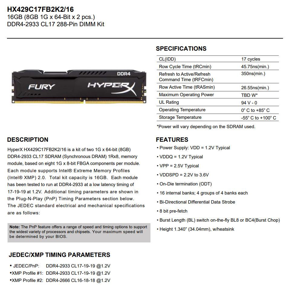 Kingston HyperX Fury HX429C17FB2K2/16 16GB (2x8GB) DDR4