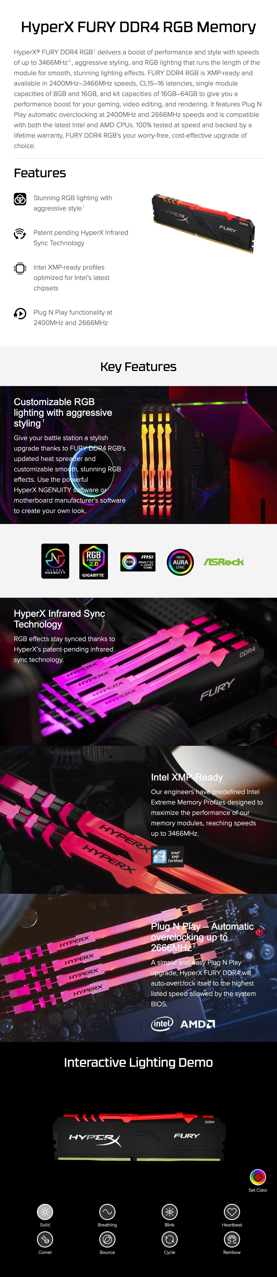 זכרון Kingston HyperX Fury RGB 8GB 3000MHz CL15 DDR4