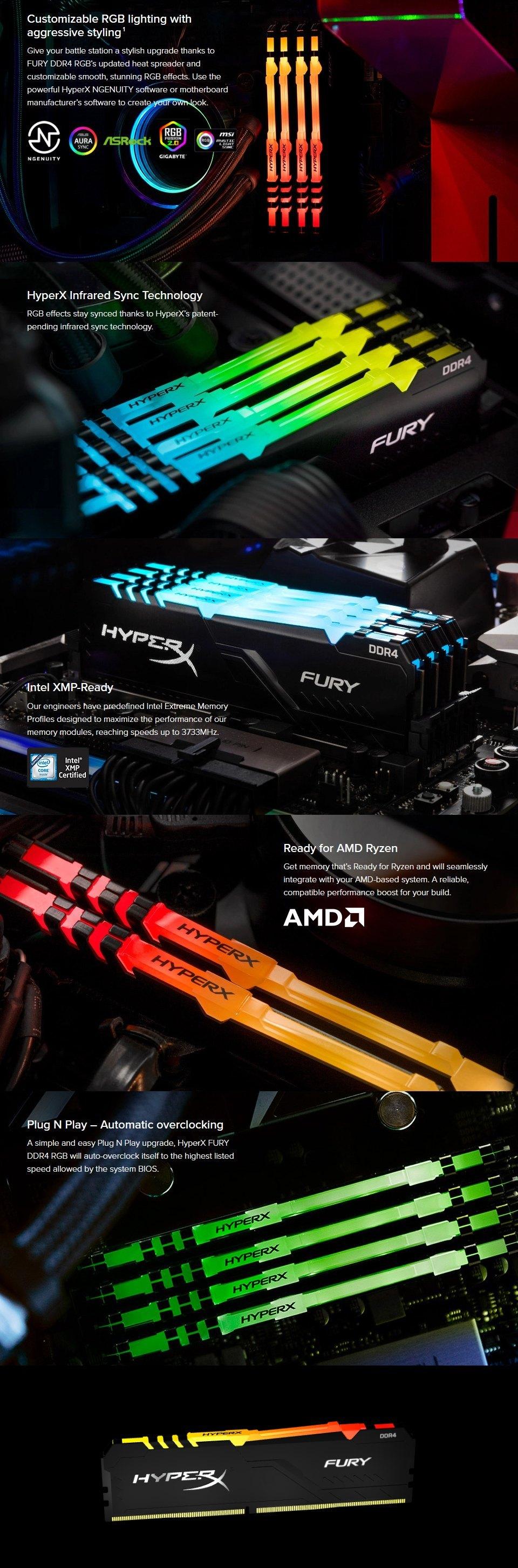 Kingston HyperX Fury RGB 32GB (2x16GB) 3600MHz CL17 DDR4 features