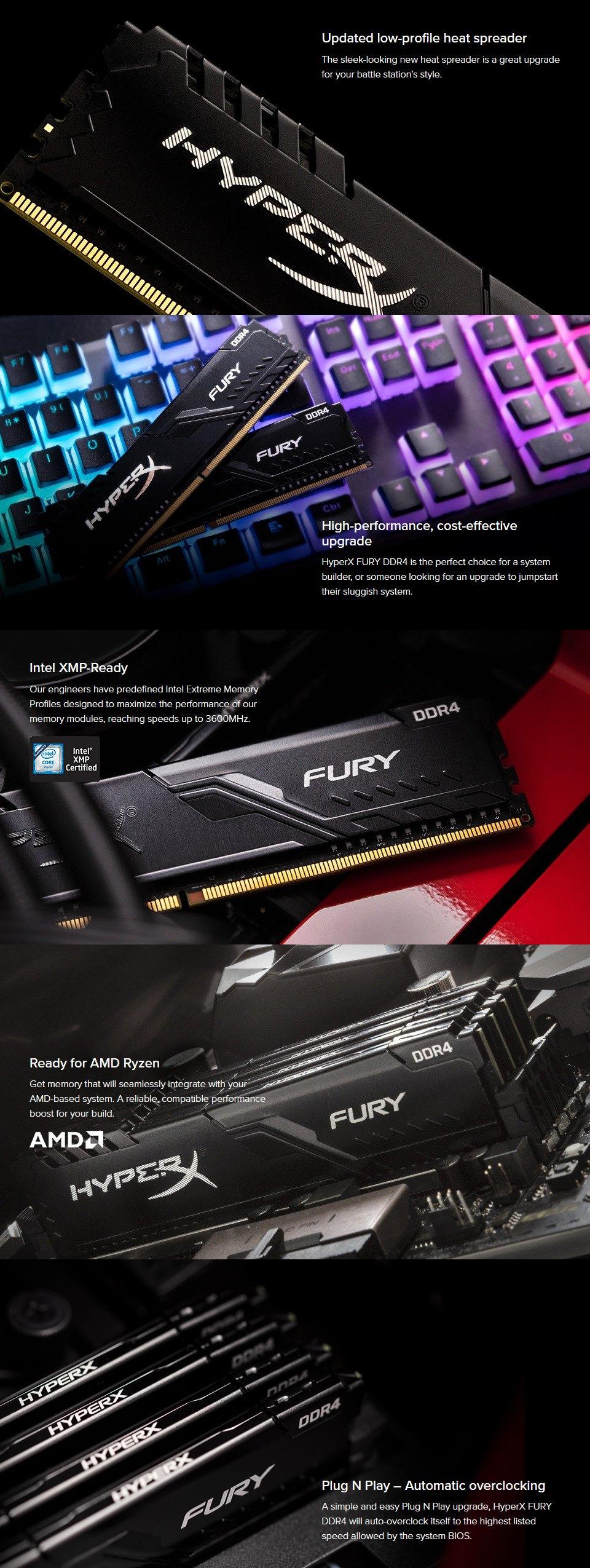 Kingston HyperX Fury 16GB (2x8GB) 3600MHz CL17 DDR4 Black features