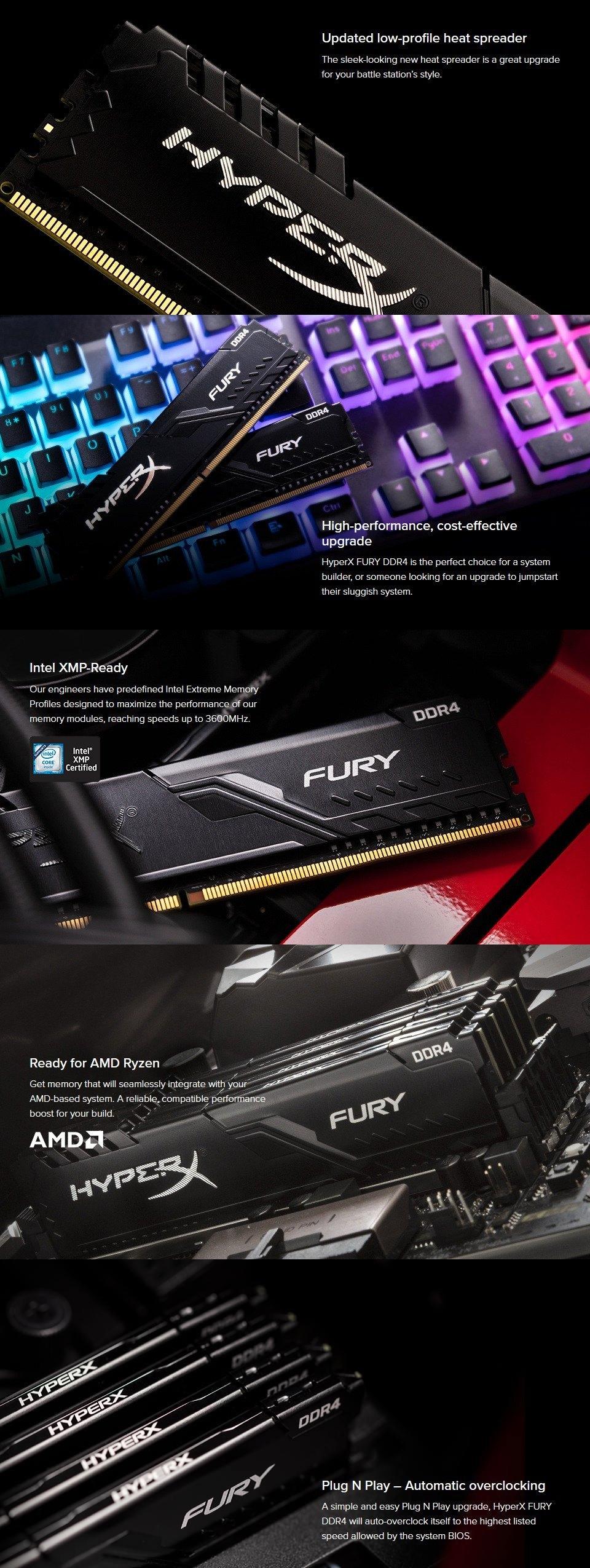 Kingston HyperX Fury 32GB (2x16GB) 3600MHz CL17 DDR4 Black features