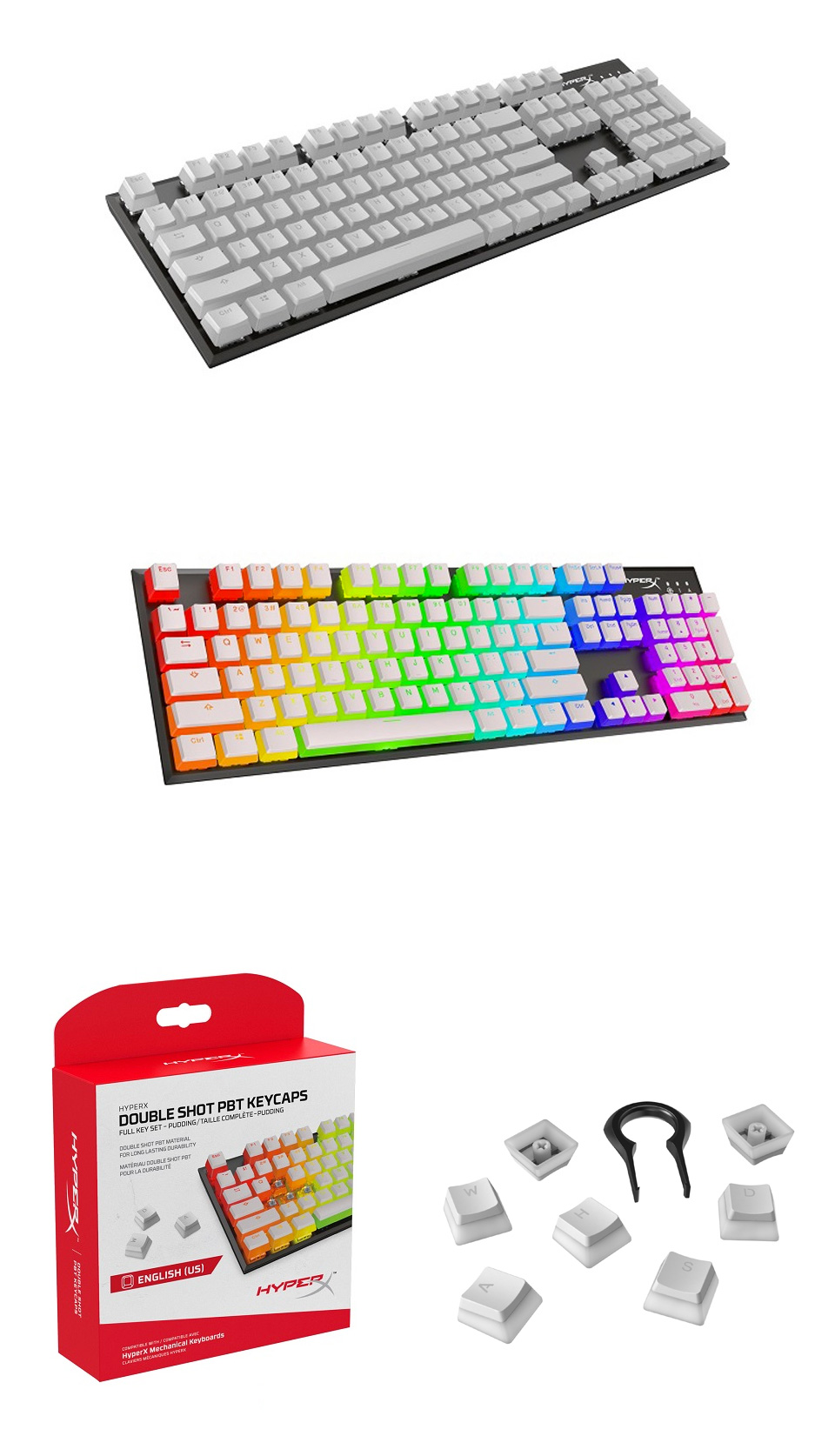 HyperX Double Shot PBT Keycaps White Pudding Edition product