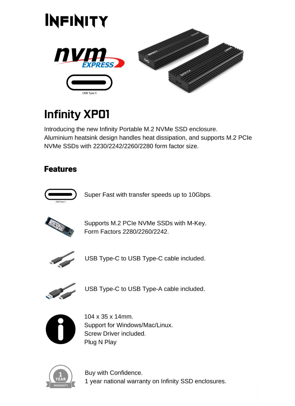 Infinity USB3.1 Type C NVME M.2 Enclosure Black features