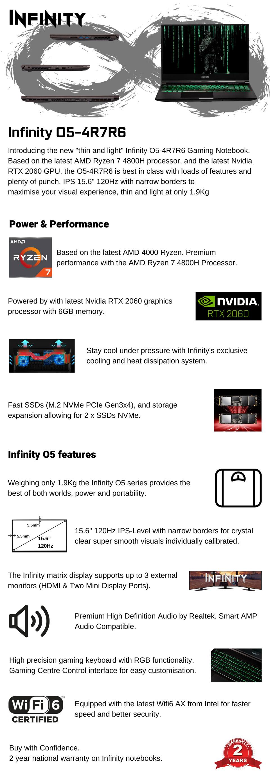 Infinity O5 Ryzen 7 RTX 2060 15.6in 120Hz Laptop [888] features